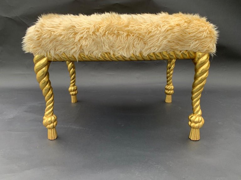 Handcarved wood and gilt pair of stools, 22-karat gold leaf, newly upholstery, 1950s, Italy.