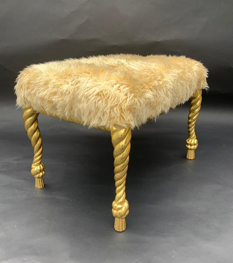 Italian Hand Carved Pair of Stools For Sale