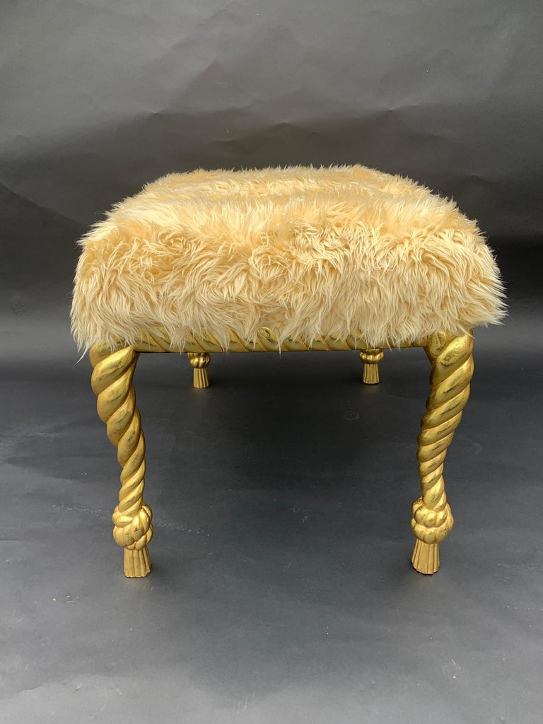 Hand Carved Pair of Stools In Excellent Condition For Sale In Los Angeles, CA