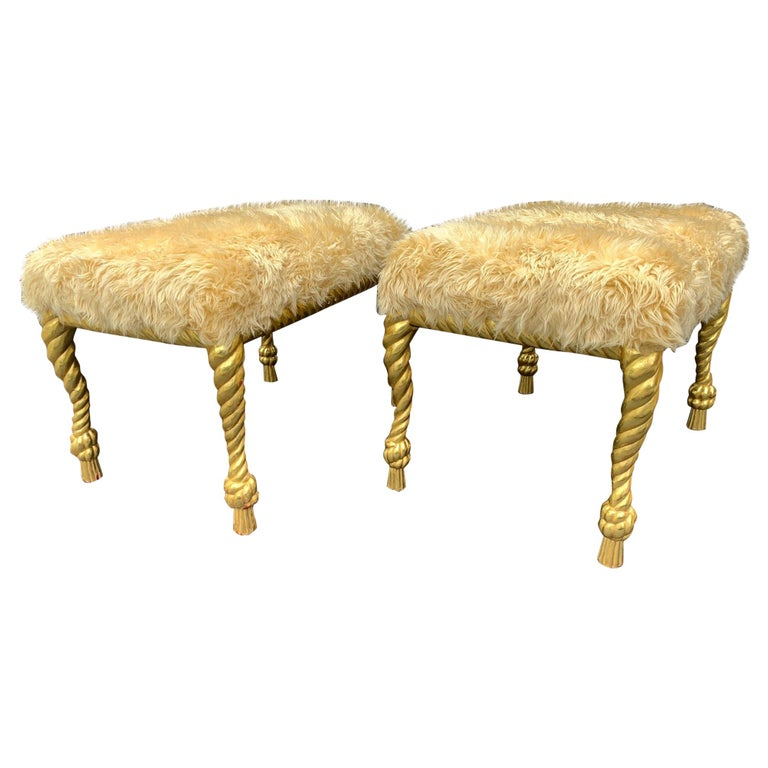 Hand Carved Pair of Stools For Sale