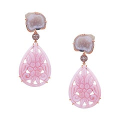 Hand Carved Pink Opal Earring with Pink Sapphire Set in 18k Yellow Gold