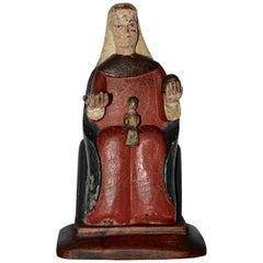 Hand Carved Polychromed Montserrat Virgin Statue