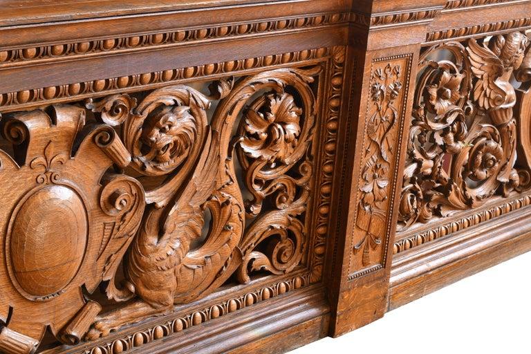 American Hand-Carved Quarter Sawn Oak Banister, circa 1891 For Sale