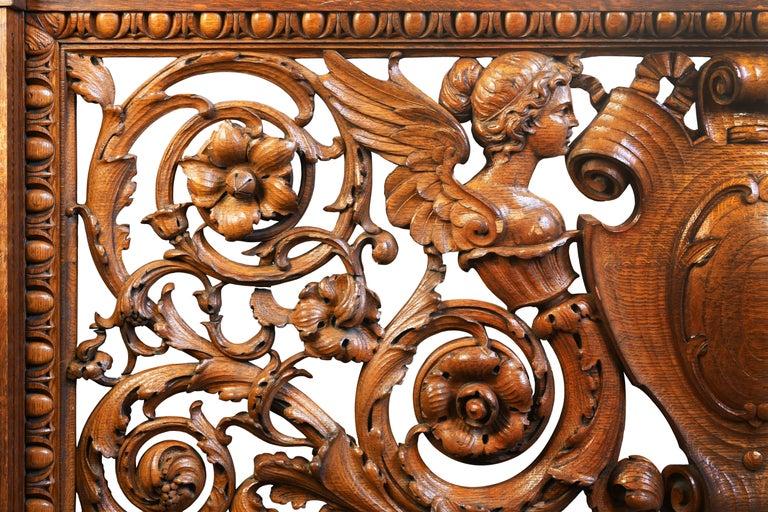Hand-Carved Quarter Sawn Oak Banister, circa 1891 For Sale 2
