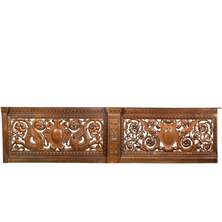 Hand-Carved Quarter Sawn Oak Banister, circa 1891 For Sale