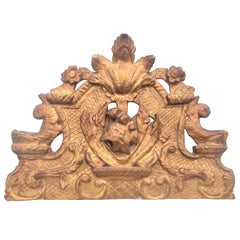 Hand Carved Regence Style Giltwood Mirror Crest Fragment, 19th Century