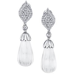 Hand Carved Rock Crystal, Diamond Pave White Gold Dangle Clip Post Earrings