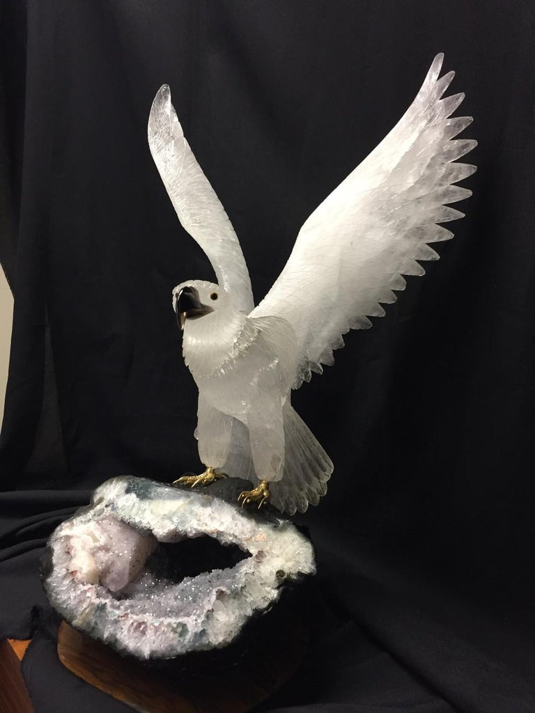 Hand-Carved Rock Crystal Eagle For Sale 3