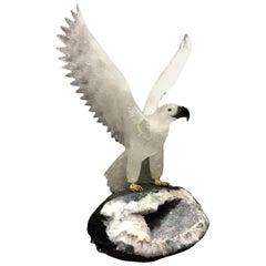 Hand-Carved Rock Crystal Eagle