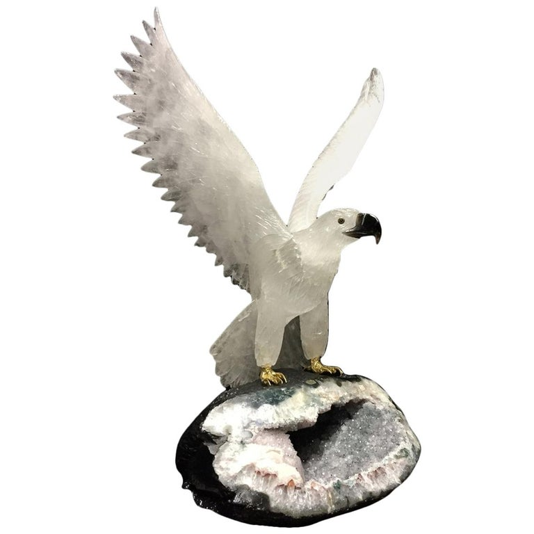 Hand-Carved Rock Crystal Eagle For Sale