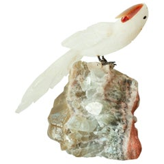 Hand Carved Rock Crystal Parrot on a Stone Base