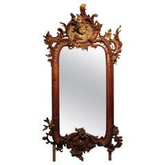 Hand Carved Rococo Style Mirror, C. Volkart, 1861-1921, Zurich