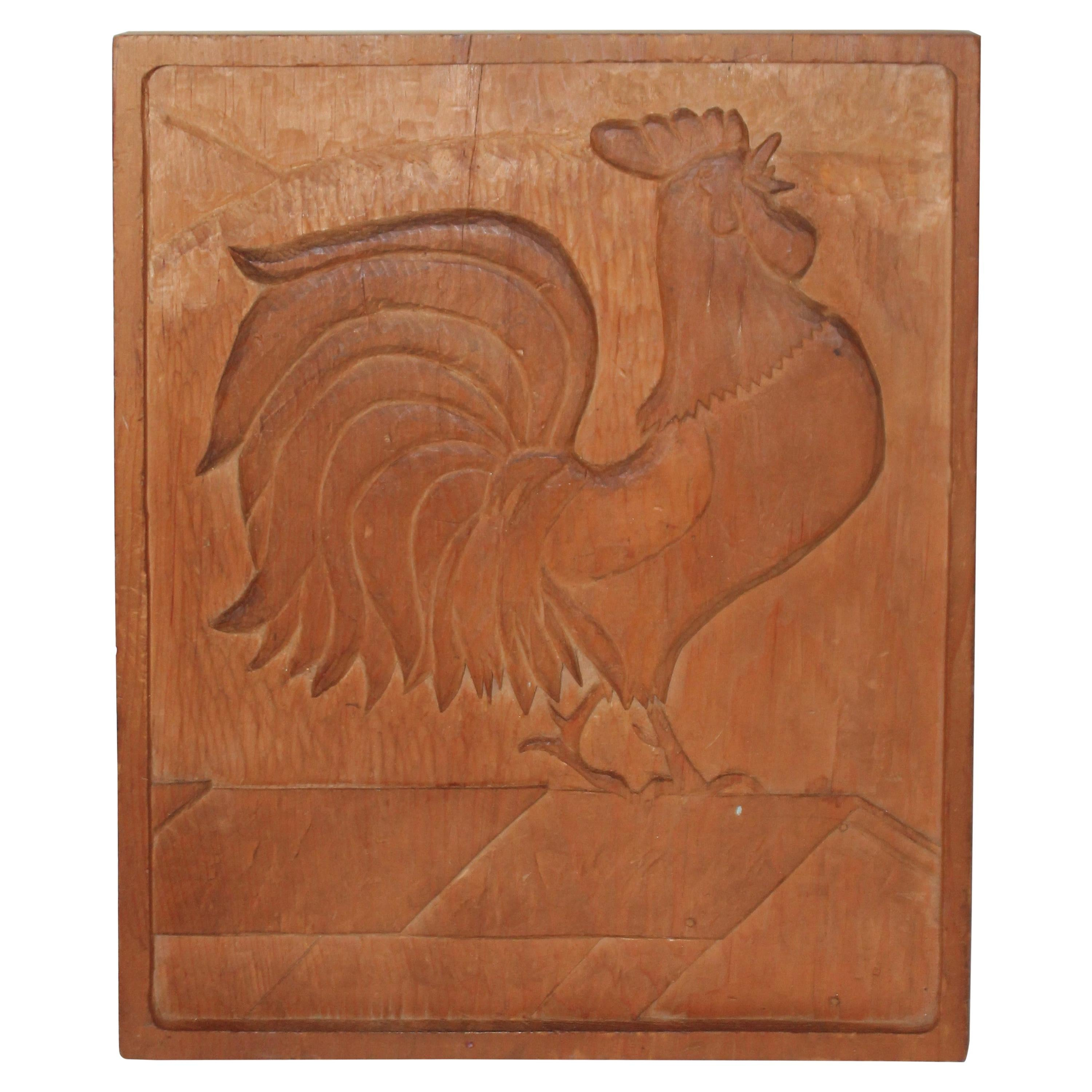 Hand Carved Rooster Plaque