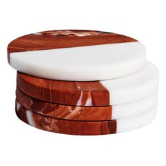 Hand Carved Rosso Marble Polar Coaster Set by Greg Natale
