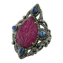 Hand Carved Ruby Ring with Pave Diamond and Sapphire Set in 18k Gold and Silver