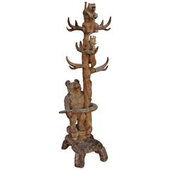 Hand Carved Rustic Hat and Coat Tree with Hand Carved Bears