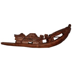 Hand-Carved Sampan Incense Burner in Teak