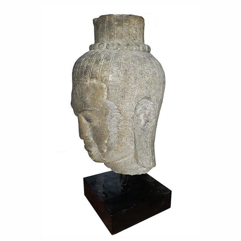 Other Hand Carved Sandstone Buddha Head For Sale