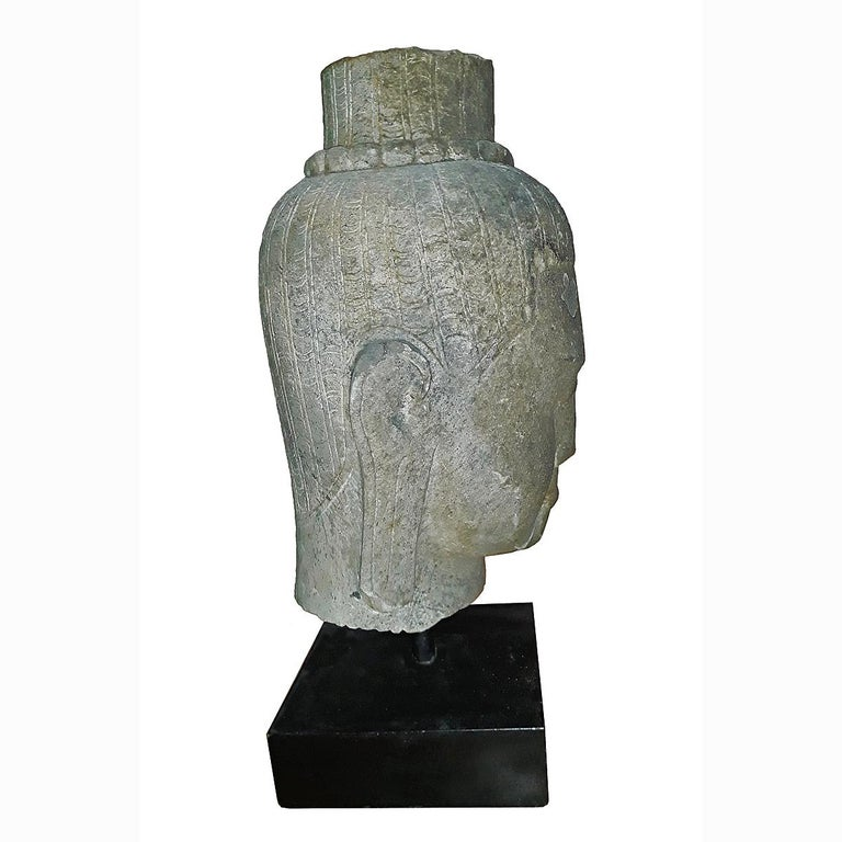 Hand-Carved Hand Carved Sandstone Buddha Head For Sale