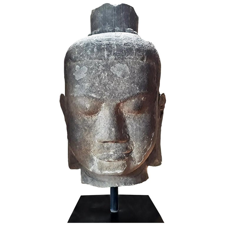 Hand Carved Sandstone Buddha Head For Sale