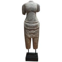 Hand Carved Sandstone Tabletop Sculpture of a Woman, from Thailand