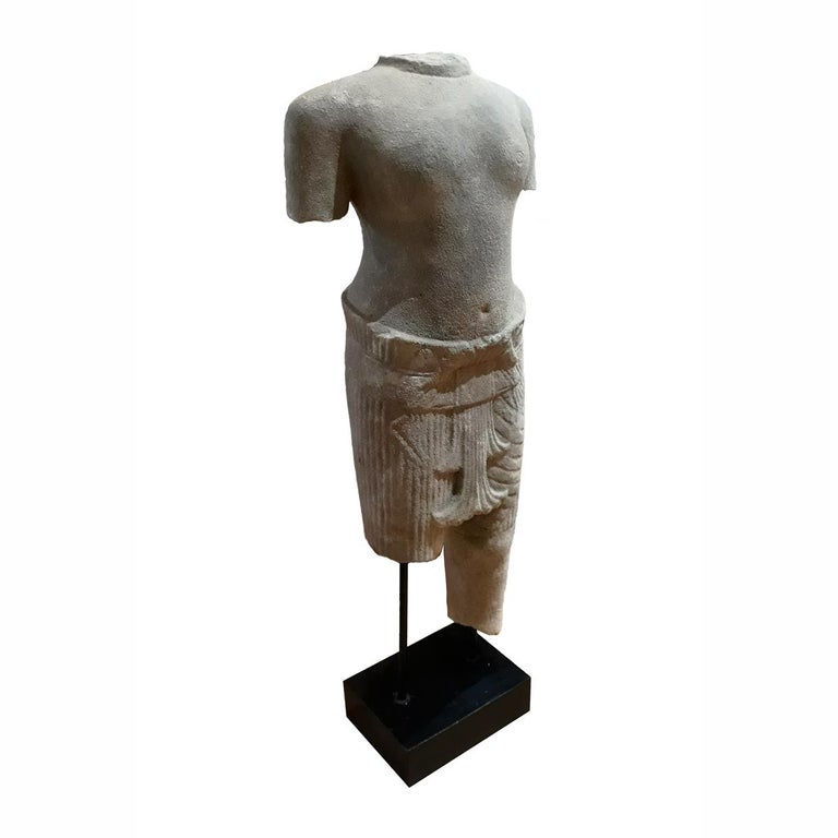 Other Hand Carved Sandstone Thai Sculpture For Sale