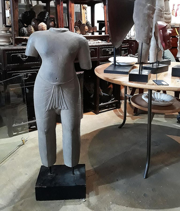 Hand Carved Sandstone Thai Sculpture, Large For Sale 3