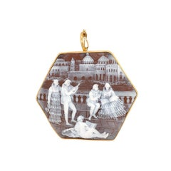 Hand Carved Scenic Cameo Pin Pendant