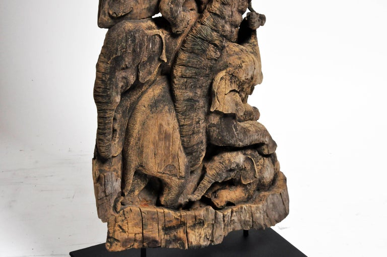 Hand-Carved Scenic Elephant Sculpture For Sale 7