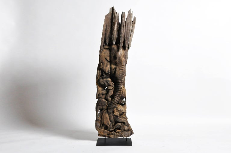 Hand-Carved Scenic Elephant Sculpture For Sale 10