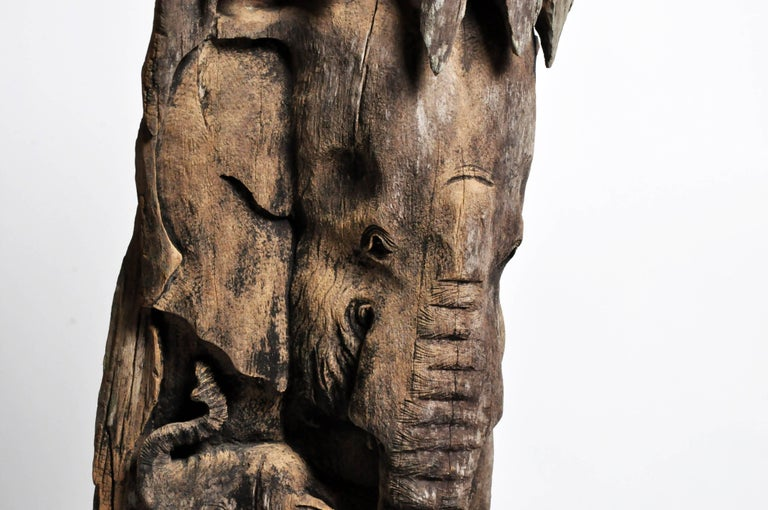 20th Century Hand-Carved Scenic Elephant Sculpture For Sale