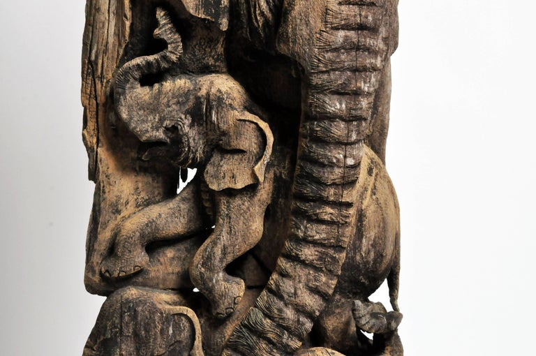 Teak Hand-Carved Scenic Elephant Sculpture For Sale