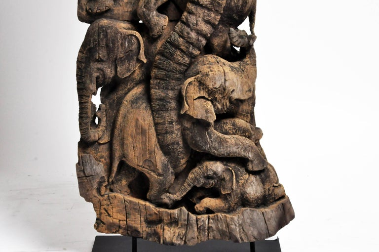 Hand-Carved Scenic Elephant Sculpture For Sale 1
