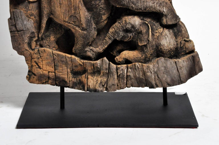 Hand-Carved Scenic Elephant Sculpture For Sale 2