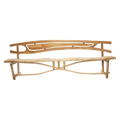 Hand Carved Sculpted Maple Entry Bench