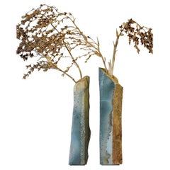 Hand Carved Sculptural Flower Vase Made in Aventurina Stone