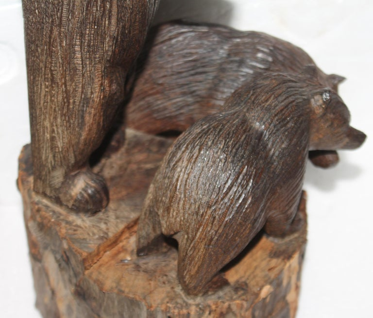 Wood Hand Carved Sculpture of Bears For Sale