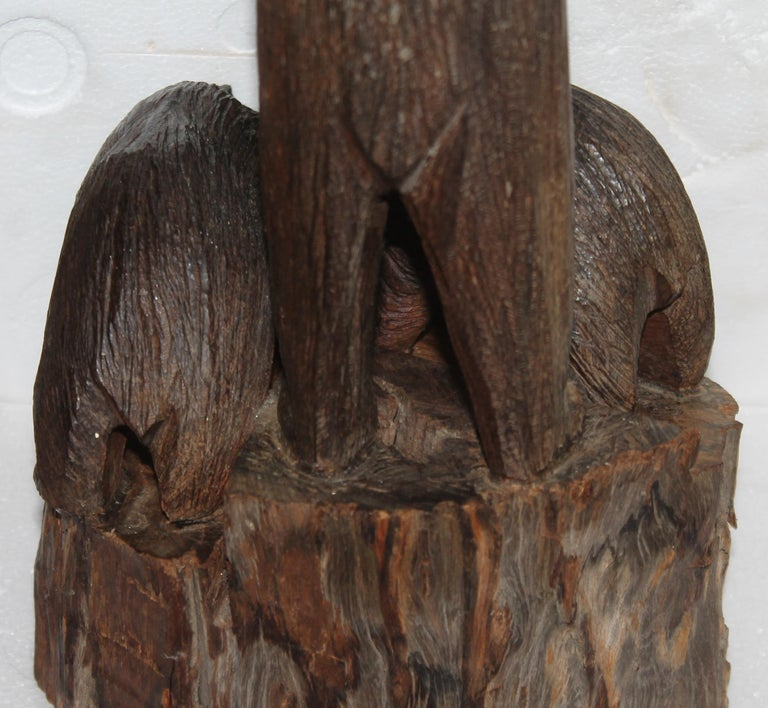 Hand Carved Sculpture of Bears For Sale 1