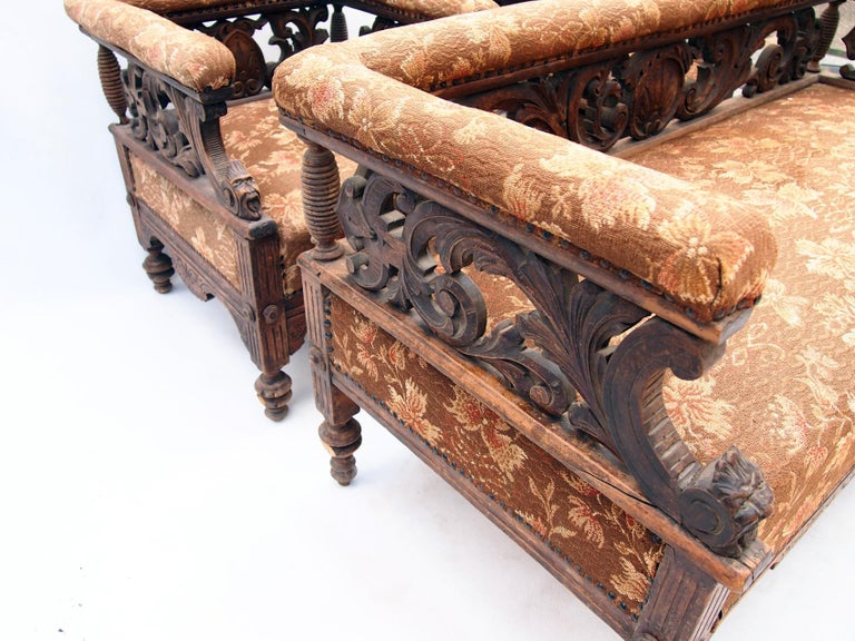 Hand Carved Seating Set, 1800s For Sale 3