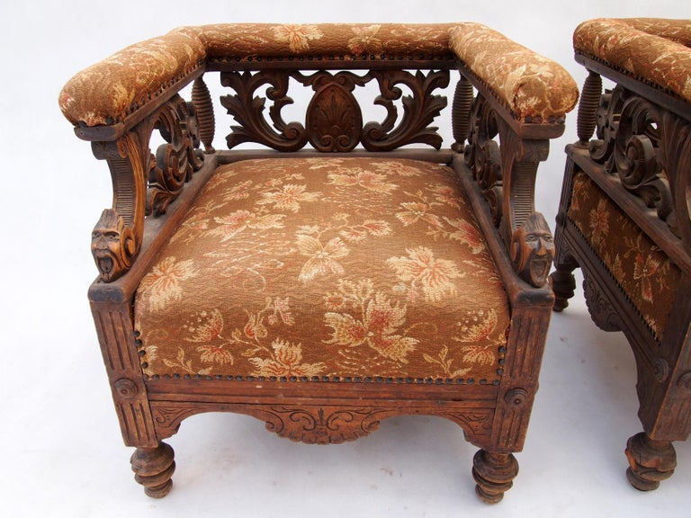 European Hand Carved Seating Set, 1800s For Sale