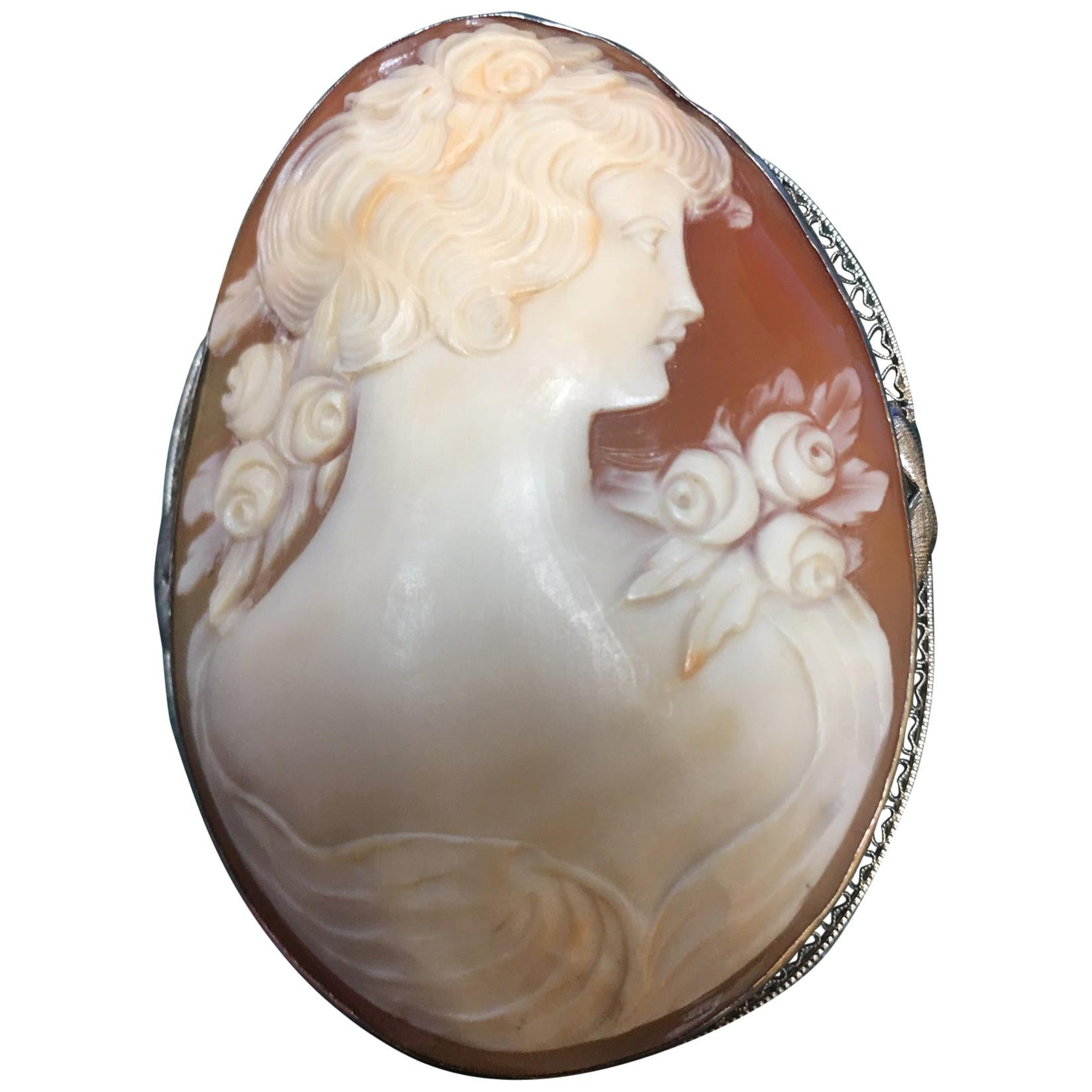 Hand Carved Shell Cameo Gold Art Deco Style Brooch Pin Pendant Fine Jewelry