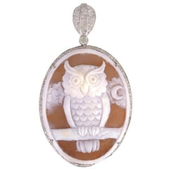 Hand-Carved Shell Cameo Owl Pendant with Diamonds Around in 18 Karat Gold