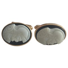"""Hand Carved Shell """"Knight"""" Cameo Cufflinks in 14-Karat with Bullet Back Clasp"""