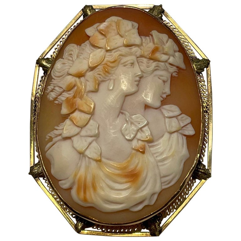 Hand Carved Shell Portrait Cameo Yellow Gold Pin Pendant Estate Fine Jewelry For Sale