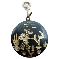 Hand Carved Silver Desert Worker Round Necklace Pendant