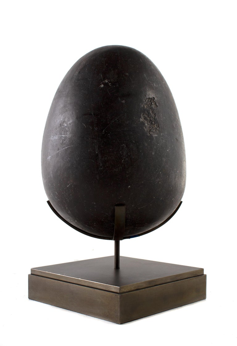 Other Hand Carved Soap Stone Egg on Museum Mount For Sale