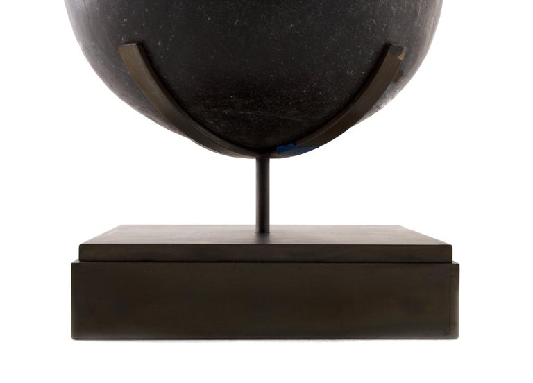 South Asian Hand Carved Soap Stone Egg on Museum Mount For Sale