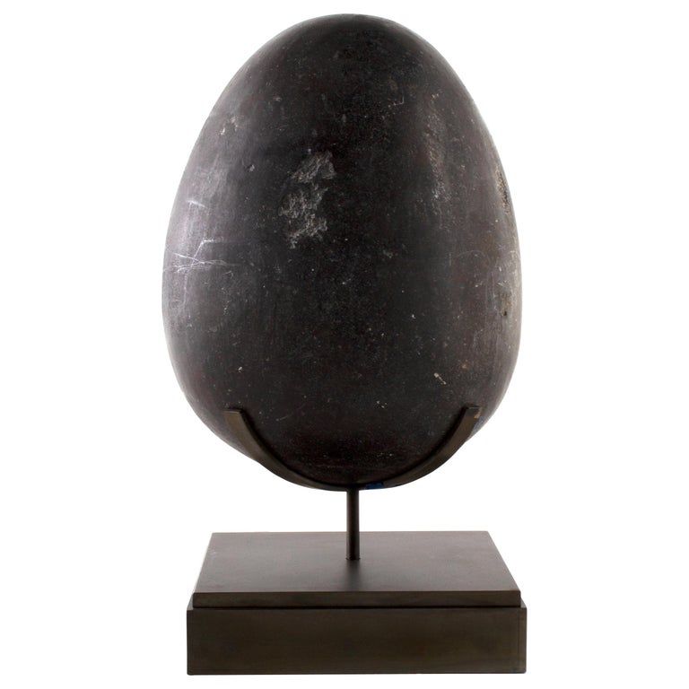 Hand Carved Soap Stone Egg on Museum Mount For Sale