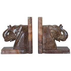 Hand Carved Soapstone Elephant Bookends