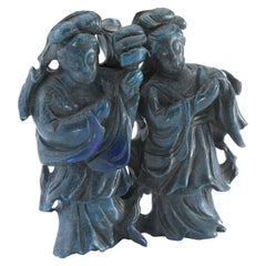 Hand Carved Sodalite Figurine Depicting Two Chinese Women